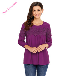 Latest Ladies Crochet Detail Long Sleeve Babydoll Casual Blouse Designs