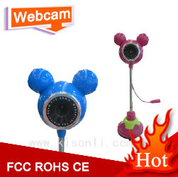 Tall Web camera with mic LED for computer, Cartoon Mic-key desktop Webcam