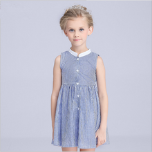 wholesale clothing cotton stripes buttons bodycon princess bountique 5-16 years old sundress o-neckline fashion dresses kids