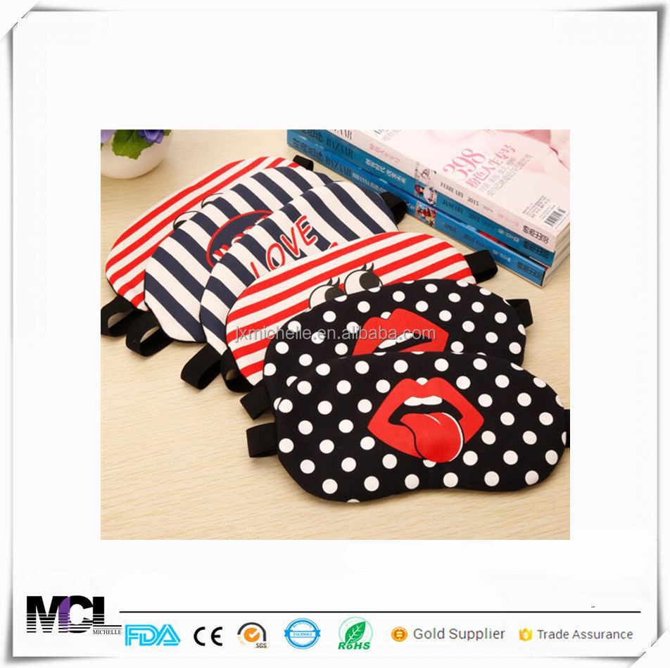 Custom Printed Travel cotton eyeshade adjustable sleeping blindfold Eye Mask red lip with wholesale prices