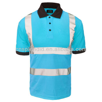Hi Viz Reflective Men Fluorescent Work Polo Shirts 3m Polo