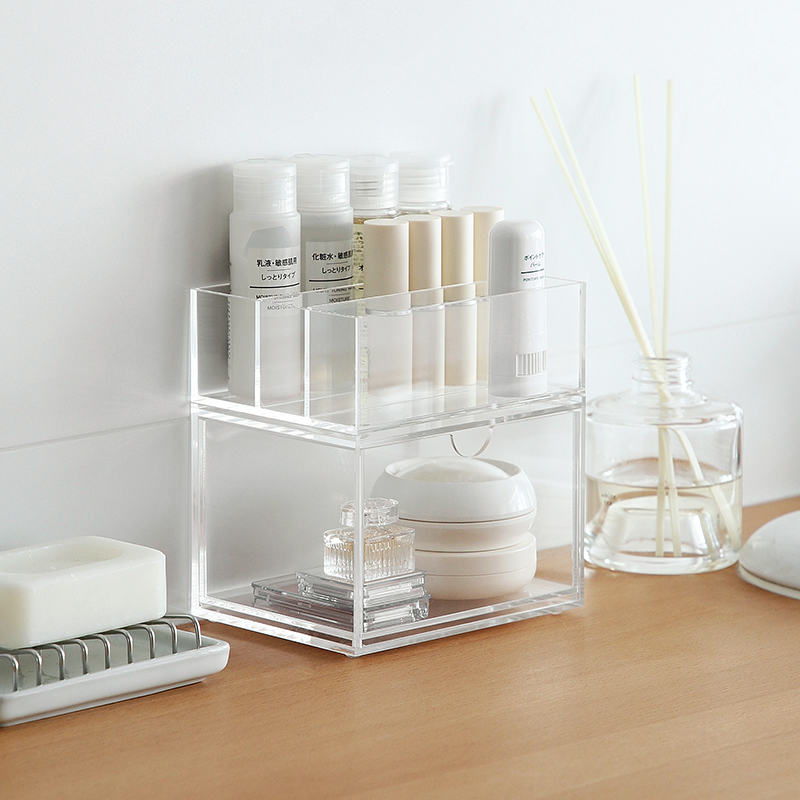 wholesale transparent acrylic glass makeup box/makeup box holder