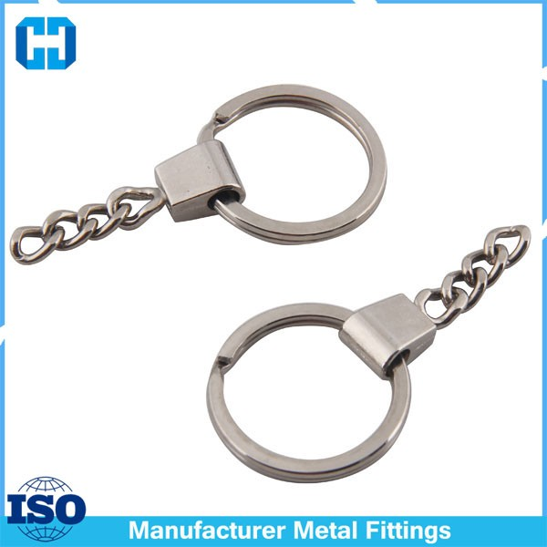 28mm Diameter Metal Split Key Ring With Alloy Head Chain