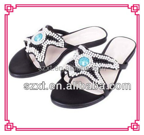 Latest design slipper sandal ladies slide sandal flats