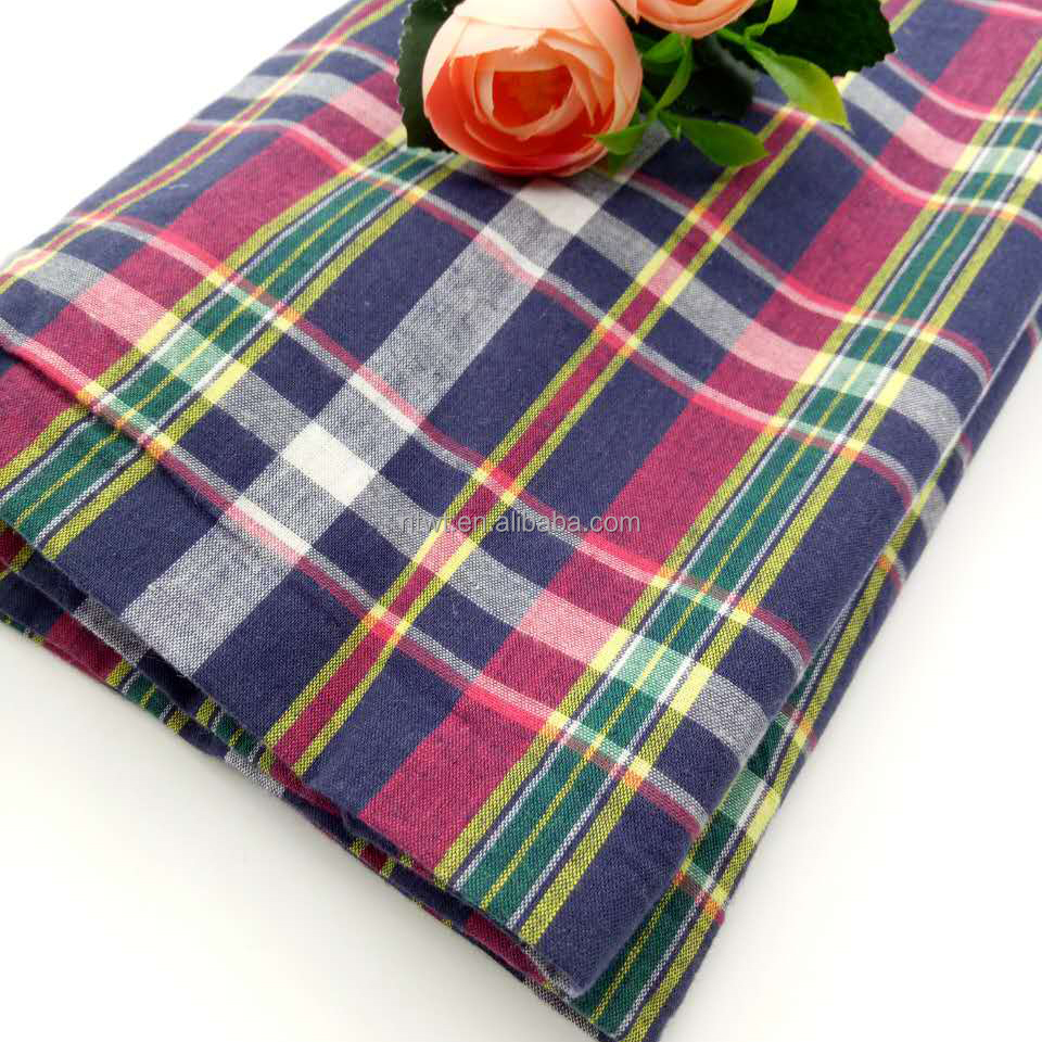 yarn dyed 100% cotton check shirt textile fabric manufacturer