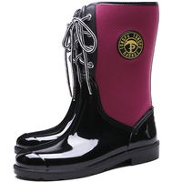 TONGPU New Design Women's Mid-Calf Rain Boots Ladies Flexible Neoprene Lace-Up Rubber Boots