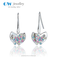 925 Silver Earring Colorful Nature Zircon Butterfly Jewelry Party Silver Earring
