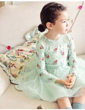 2017 Spring Autumn Girls Flower Lace Patchwork Clothes Infant Kids Evening Costume Baby Party Princess Dresses