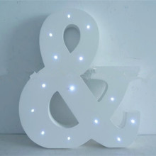 Lovely painted letters & shape white wooden LED lighted crafts