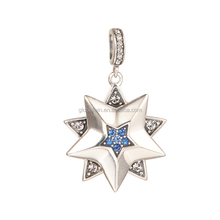 925 Sterling Silver Dangle Light Blue 3A Rhinestones Star Charms Wholesale Beads Pendant