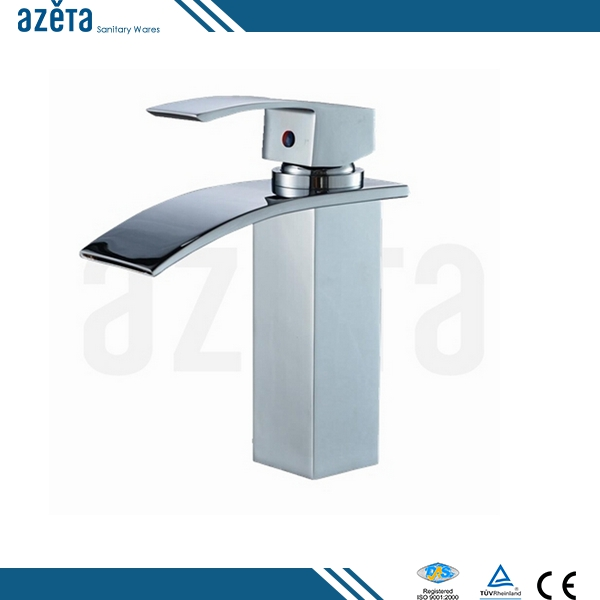 2016 Unique Chrome Waterfall Bathroom Brass Basin Faucet
