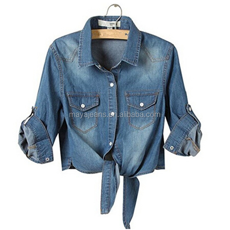 MY-168 High Quality Womens Cool Knotted Short Denim Shawl Coat Top Jacket