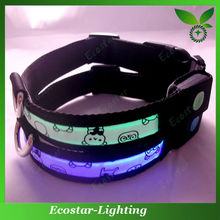 Novelty Flashing Embroidered Pet Collars Flashing Dog Collar