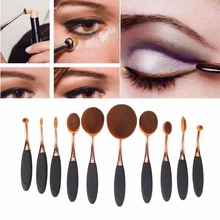 10pcs Rose Gold Oval Makeup Brush Set, Make Up Brush Set for Wholesale As Seen on TV
