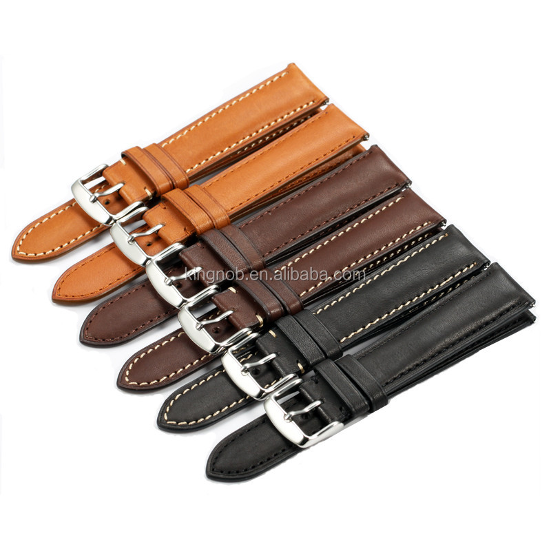OEM 18mm to 22mm Handmade France Calf Leather Strap Pin Buckle Watch Band