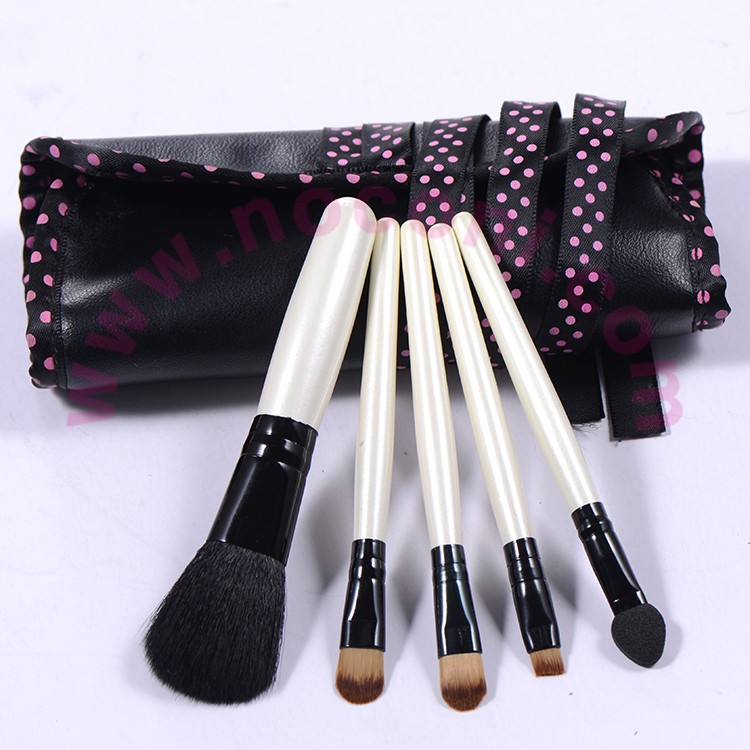 Noconi 5 pcs cute travel cosmetic brush kit with pu roller