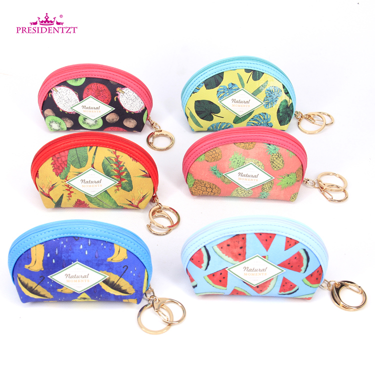 Small Summer Pattern Folding PU Leather Flower Coin Purse