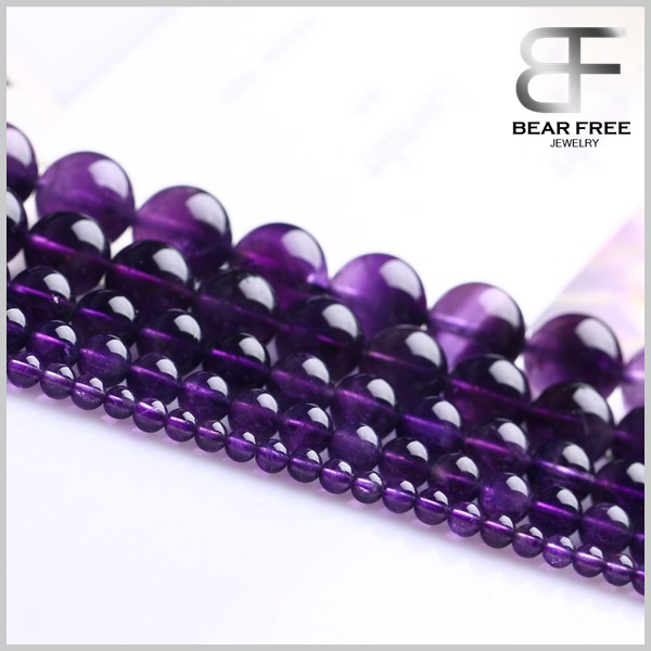 Fashion DIY Jewelry Making Natural Amethyst Crystal Gemstone Round Beads for Wholesales