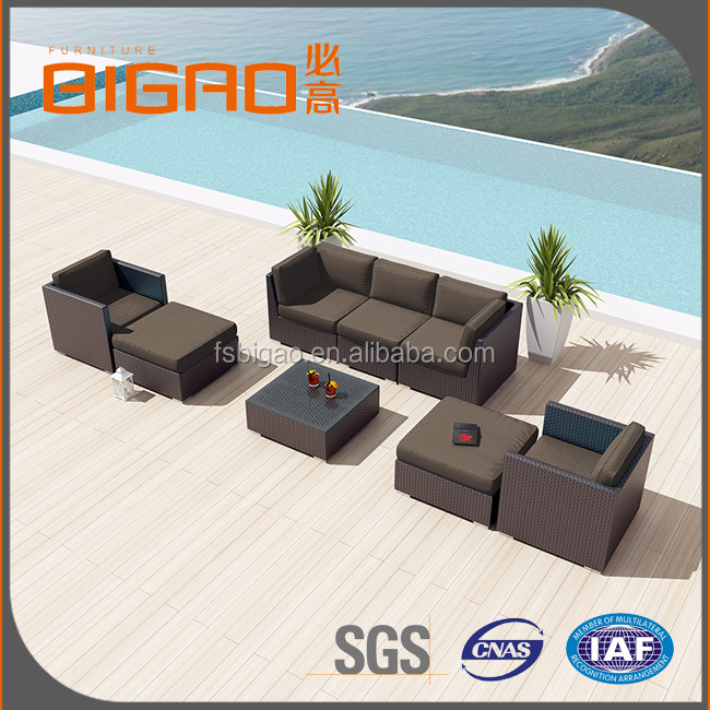 Newest Design Poly Rattan Sectional Sofa Cushions Include Sofa Set Outdoor Furniture