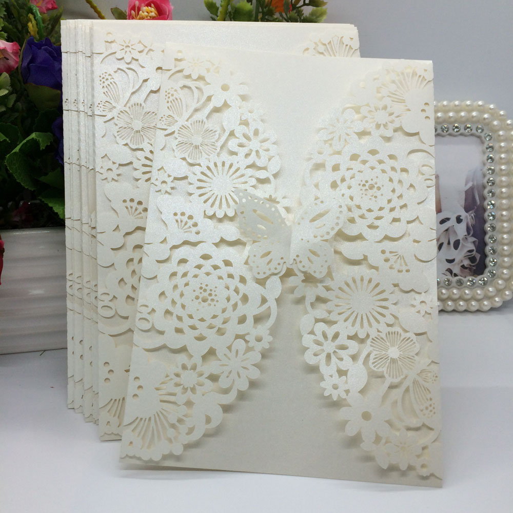 20Pcs Romantic <strong>Wedding</strong>/Business/Party/Birthday Invitation Cards <strong>Wedding</strong> Party Invitation Card Envelope Delicate Carved Pattern