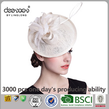 ridal Wedding Hats for Women Sinamay Church Hat Fascicnator