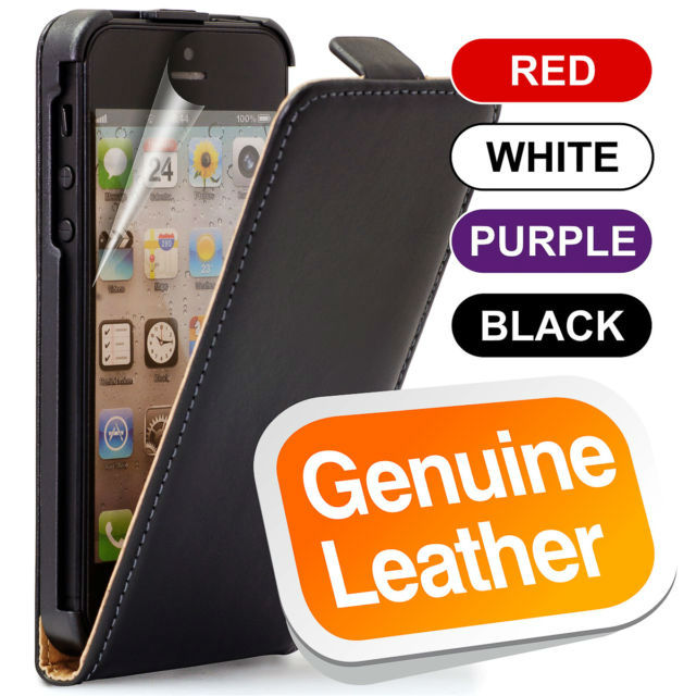 2013 Hot selling 100% Real leather for iPhone 5 Flip Case