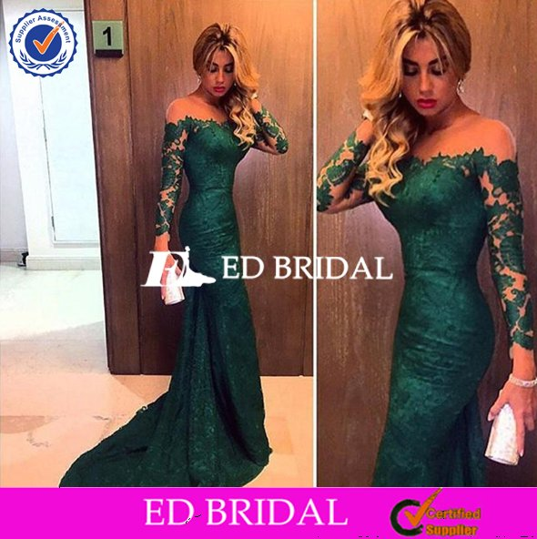 Dark Green Off Shoulder Long Sleeves Lace Mermaid Evening Prom Dresses 2016