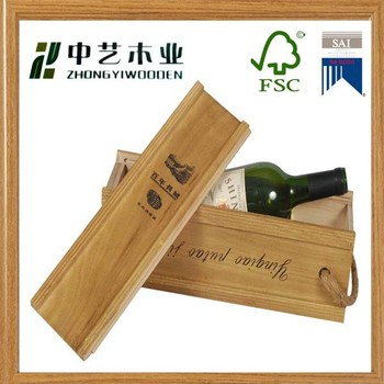 Unfinished 100% Handmade Clear Wine Glass Packing Wooden Bottle Wine Box