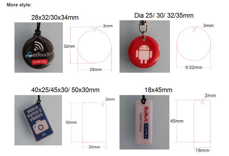 13.56mhz Customized Programmable Ultralight EV1 RFID NFC Epoxy Tag