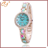Fashion Shell Surface Printing Plastic Flowers Set Auger For Women Geneva Watches