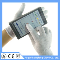 13G Seamless Knitted Antistatic PU Coated Top Fit Hand Gloves Used In Microelectronics