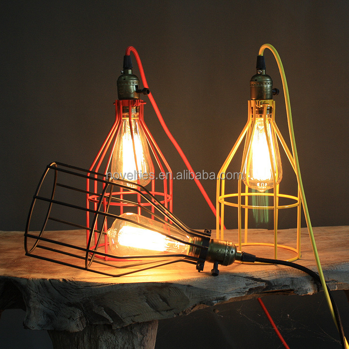 Vintage braided wire cages pendant lights transformable metal cages pendant lamps