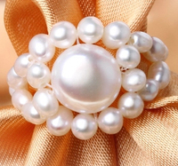 100% Freshwater Pearls Ring Manual Adjustable Lovely Rings for Women White/Pink Top Quality Free Shipping