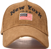 New York Letters Embroidered Corduroy Couples Hat Curved Canopies Cap