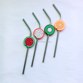 FDA/SGS Juice straws with different kinds of silicone decorative