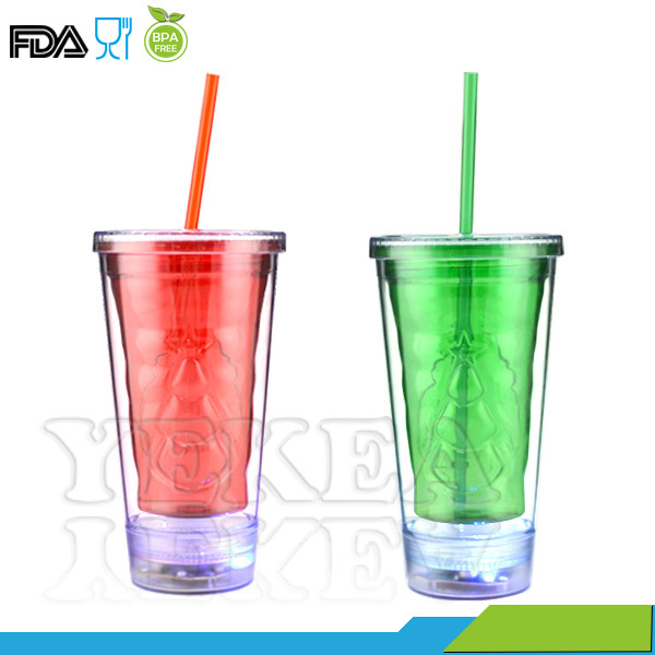 Customized 16 oz Led Flashing Juice Tumbler with Paper Insert