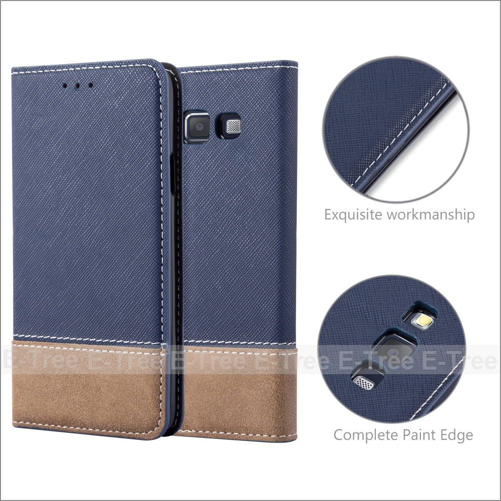 Invisible Magnet Jean Fabric Wallet Phone Case Cover With Card Holders for Samsung Galaxy A3 2015