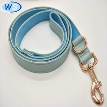 Luxury Personalized light blue Leather dog collar leash with high quality