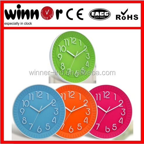 12 inch round plastic 3D numbers colored fashion wall clock,cuckoo clock,usb fan with led clock
