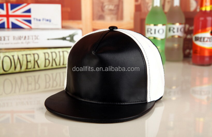 wholesale black / white leather plain 6 panel blank snapback cap