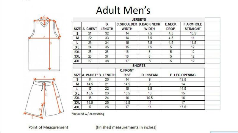 basketball jersey sizes