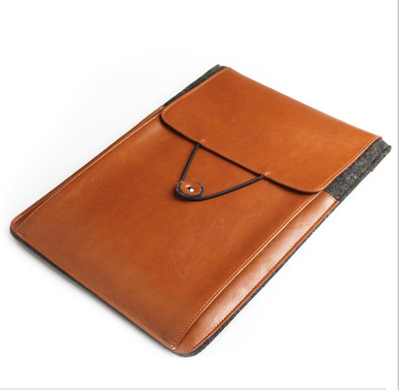 Fashion felt leather bag sleeve for laptop and ipad