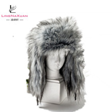 2018 Fashion Winter Warming Outdoor Grey Long Faux Fur Hat with Botton for Women