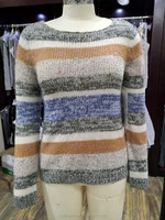New Design Multi Color Round Neck Long Sleeve Woolen Pullover Sweater Designs for Ladies