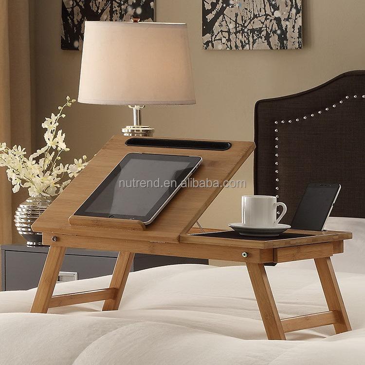 접이식 대나무 작은 노트북 테이블 아이 전화 슬롯-접는 테이블 ...