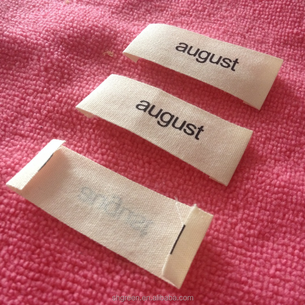 Off-white organic cotton label,neck cotton printing tag for garment