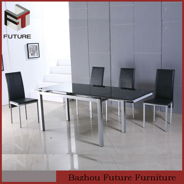 new design modern cheap glass expandable dining metal table