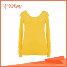 Seamless O Neck Lady Working Fashion Cutting Blouse & Top Design
