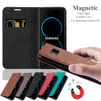 Invisible Magnet PU Leather Wallet Mobile Phone Flip Cover Case For Samsung Galaxy S8
