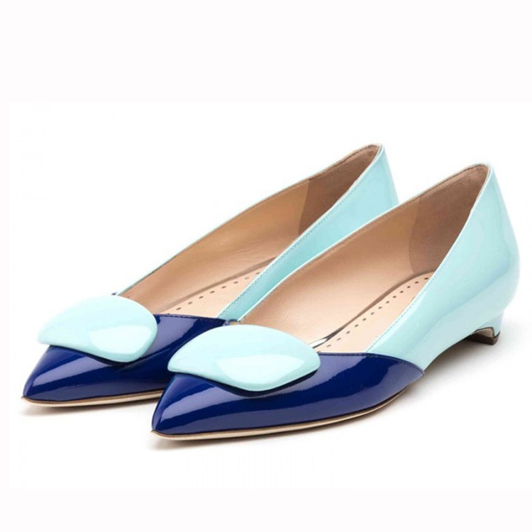colorful genuine leather flat dress shoes